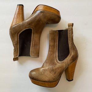 Bed Stu 7 Cottage Series Wood Heel Booties Boots